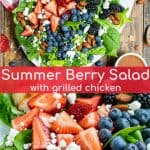 triple berry salad on a large plate with grilled chicken