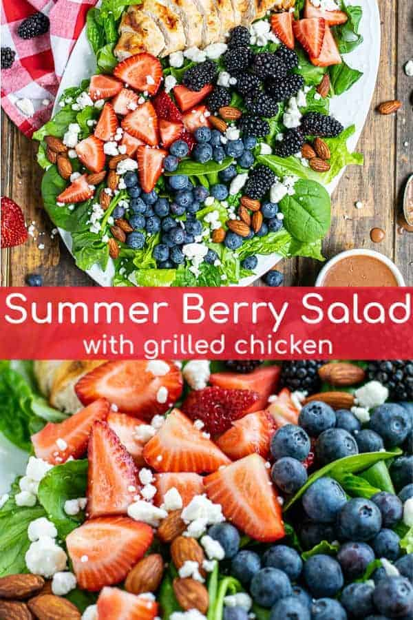 Mixed Berry Salad is a fresh salad bursting with summer fun! Romaine & spinach are topped with grilled chicken, triple berries, and an easy homemade balsamic vinaigrette. You will have this Summer Berry Salad Recipe on repeat all summer long! theschmidtywife.com | #recipe #dressing #summer #spinach #mixed #chicken #healthy #fresh #tripleberry #balsamic #feta #berrysalad
