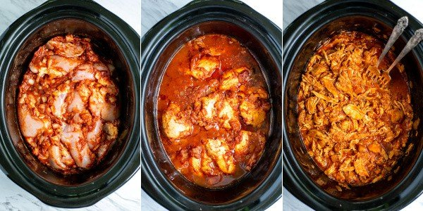 3 photos; raw chicken with sauce in crock, cooked chicken in crock, and pulled chicken in crock