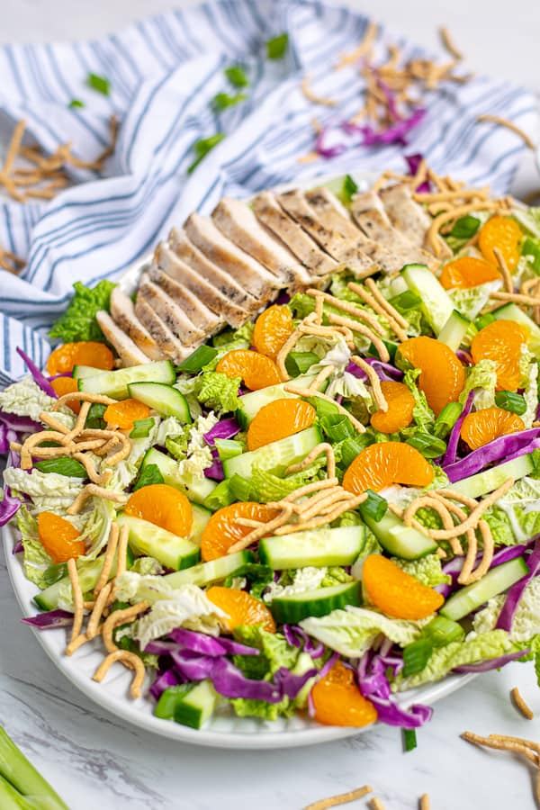 platter full of oriental salad with Mandarin oranges