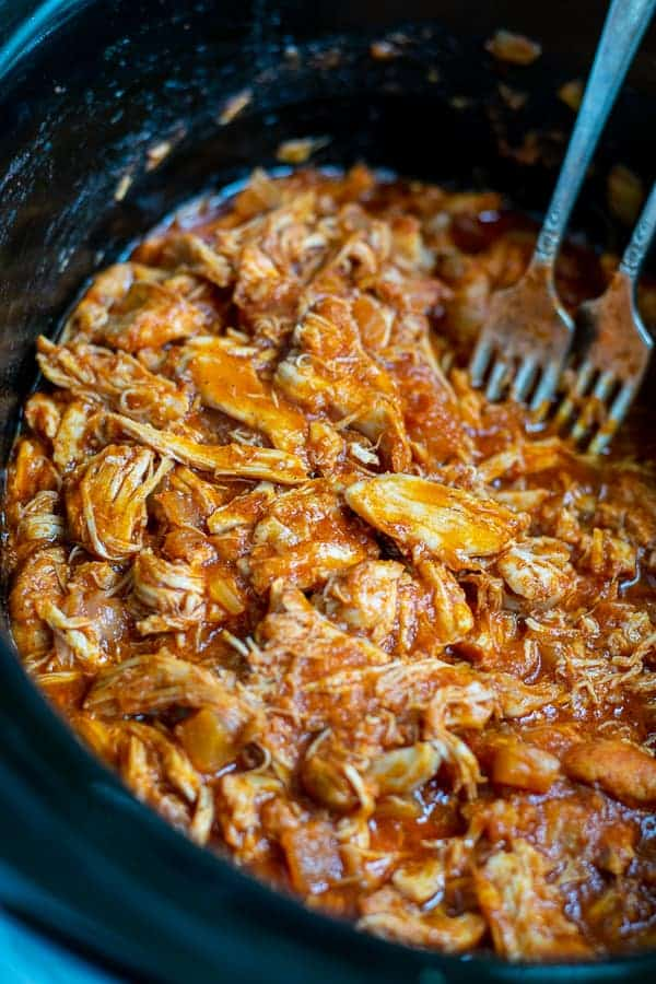 Clean Eating BBQ Pulled Chicken made in the Slow Cooker