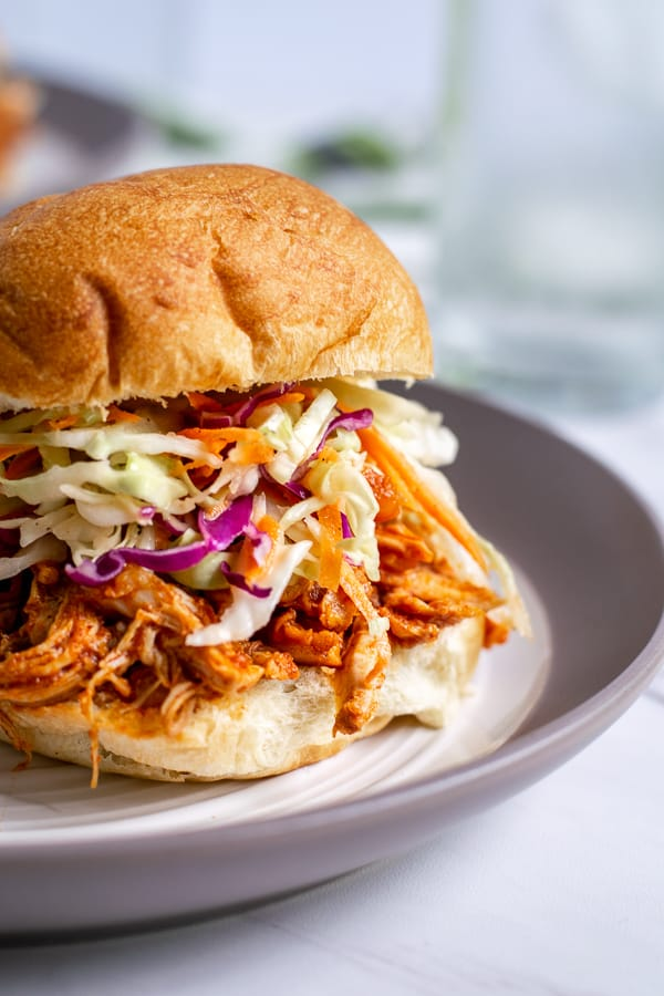 close up of a barbecue chicken sandwich