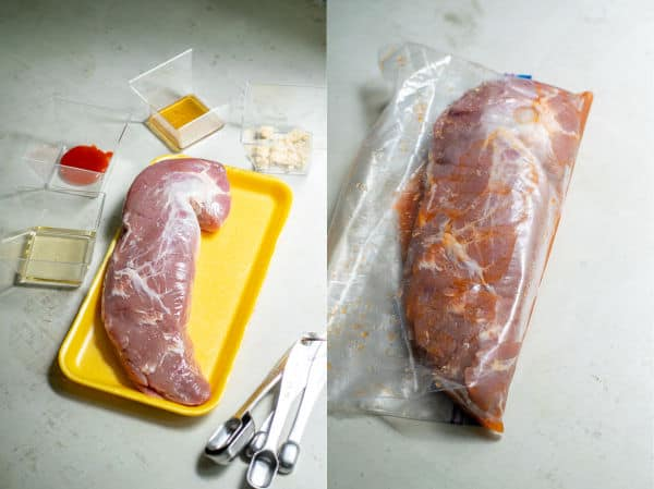 picture of pork tenderloin and ingredients needed for the marinade