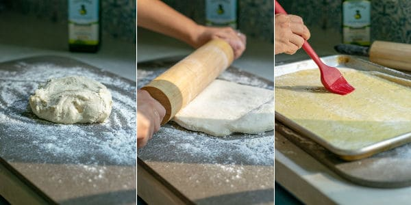 3 photos of the dough being rolled out into crust and oiled