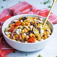 Grilled Chickpea Salad with Feta