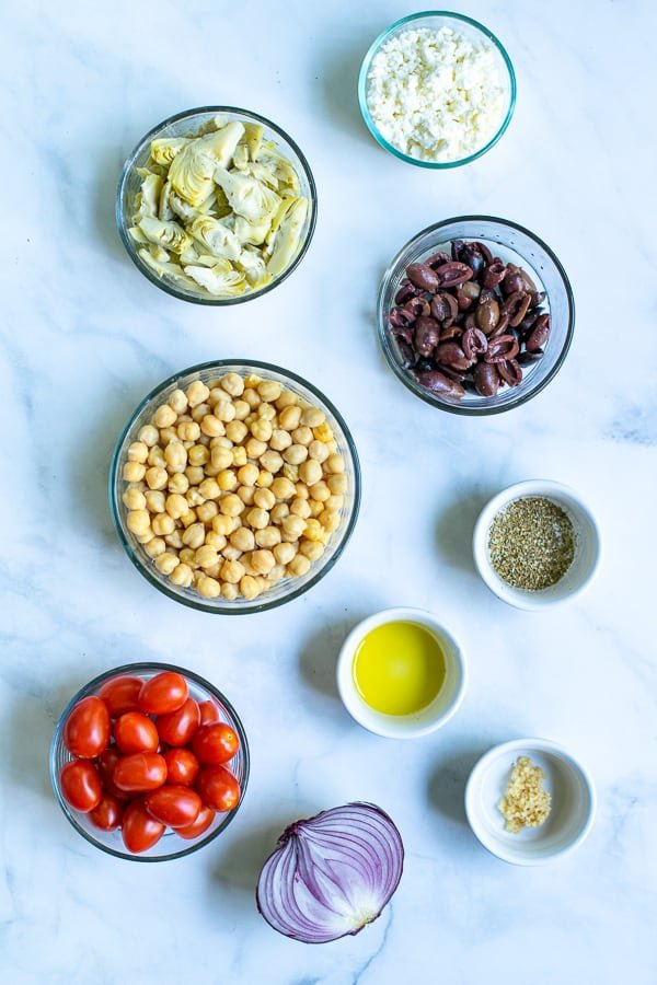 ingredients needed for healthy chickpea salad