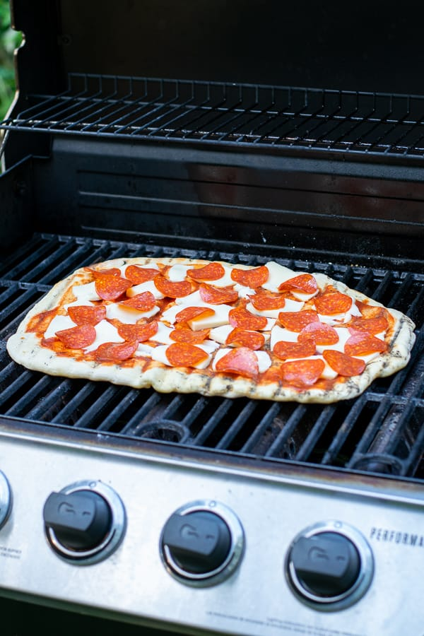 pizza on a a grill