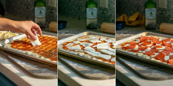 three photos of the pizza crust being topped with cheese and pepperoni