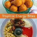 easy to make tropical energy bites, made with simple ingredients in a food processor
