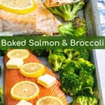 sheet pan salmon and broccoli on a pan