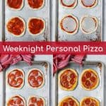 the set by step process of the personal pizza recipe on a sheet pan