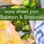 salmon and broccoli on a sheet pan baked to perfection