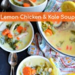 white bowls of lemon chicken soup with kale and lemon slices