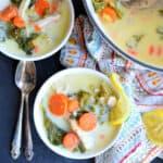 Bowls of creamy lemon chicken & kale soup