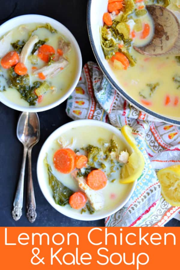 This Lemon and Chicken Soup with Kale is a delicious healthy soup. Naturally creamy without dairy your family will be eating this up in no time. #healthy #creamy #easy #recipe #soup