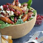 roasted pear salad in a large wooden bowl