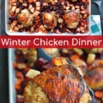 chicken thighs on a sheet pan with beets, turnips, and carrots