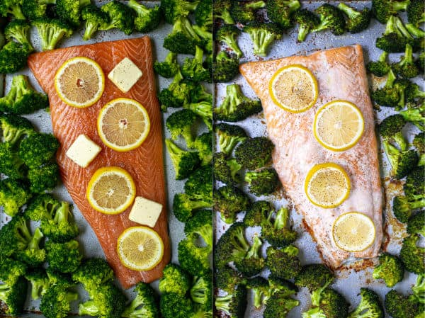 before and after photos of the salmon and broccoli on a sheet pan with lemons and butter
