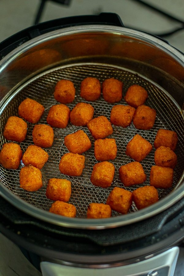 food is finished in the air fryer basket