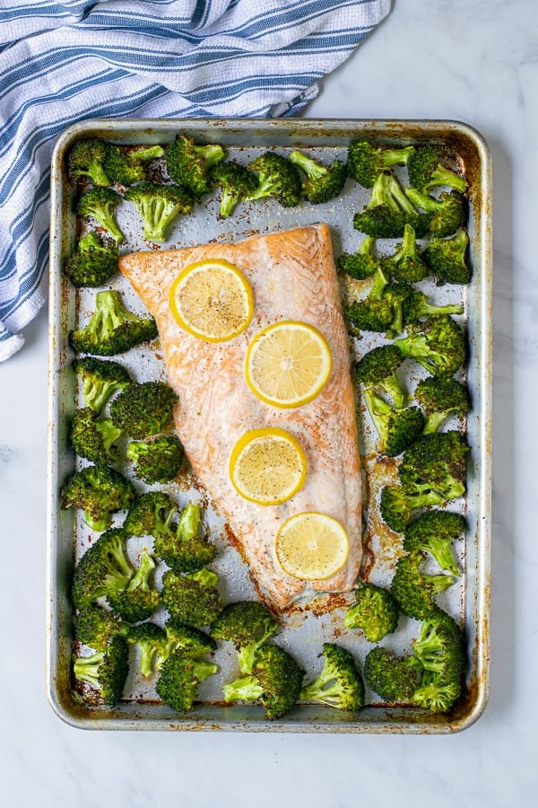 overhead image of sheet pan salmon dinner