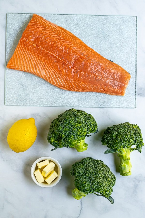 ingredients needed for the sheet pan salmon dinner bake
