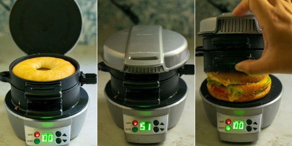 series of pictures showing a bagel sandwich in a Hamilton beach breakfast sandwich maker and opening a cooked sandwich