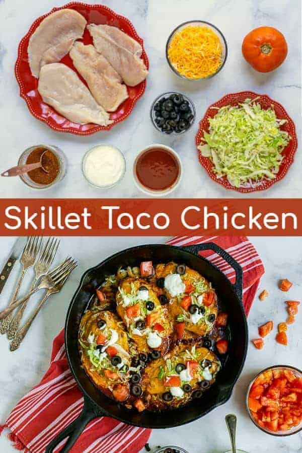 Skip the tortilla, this skillet taco chicken is the taco night you never knew you needed. Chicken breast is seasoned with taco seasoning, cooked quick in the skillet on the stovetop with taco sauce & cheese, and topped with all of your favorite taco toppings for a quick and easy dinner! This Skillet Taco Chicken Breast Recipe will be on repeat in your house weekly! #stovetop #tacochicken #easy #seasoning #skillet #quick #dinnerideas