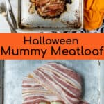 before and after cooking of the halloween mummy meatloaf