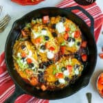 stovetop taco chicken in a cast iron pan