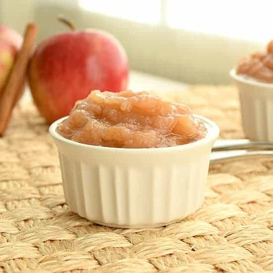 ramekin full of freshly made applesauce