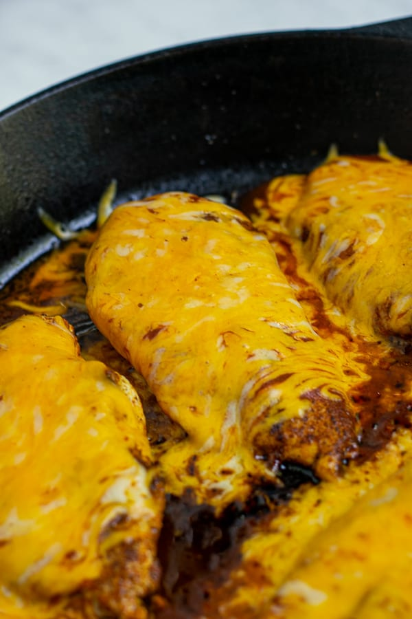 warm taco sauce and melty cheese on top of a chicken breast in a skillet fresh out of the oven