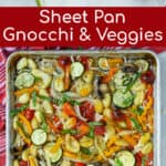 ingredients and final product for the sheet pan gnocchi and vegetable recipe