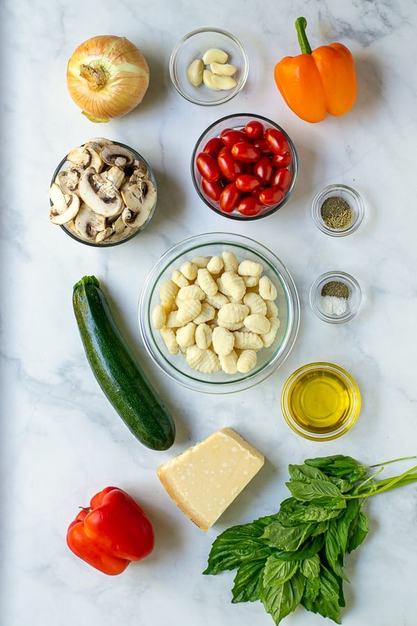 ingredients needed for a sheet pan gnocchi meal