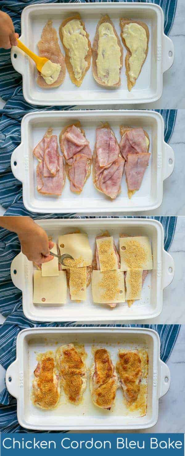 This easy chicken cordon bleu recipe is healthy and baked in the oven to make the perfect weeknight version of this classic dish. This Chicken Cordon Bleu Bake is done casserole style so prep is easy but all the delicious flavors you still love. Try this lightened up chicken cordon bleu with less bread crumbs, no butter, or extra ingredients. This healthy chicken cordon bleu bake is everything you want in a lightened up comfort food dinner! #chickencordonbleu #easy #casserolerecipe #sauce #baked #healthy #oven #dinner