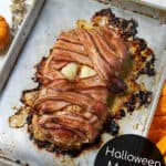 halloween mummy meatloaf on a sheet pan is the ultimate halloween food