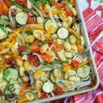 vegetarian one pan gnocchi bake recipe on a sheet pan
