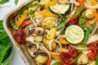 corner of a baked gnocchi and vegetables sheet pan meal