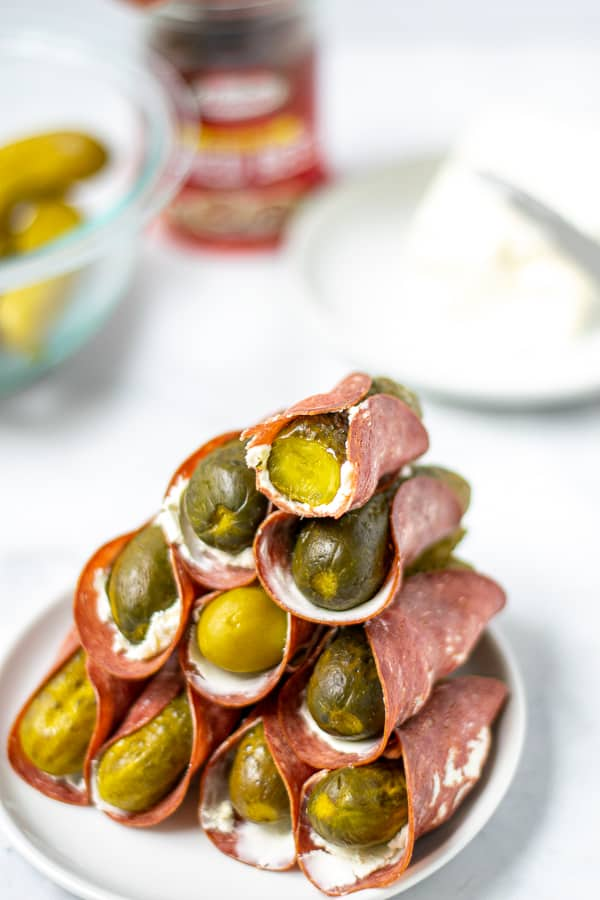 stack of the finished dill pickle roll ups with dried beef