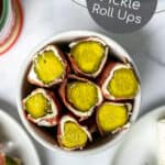overhead view of the pickle roll ups in a white bowl