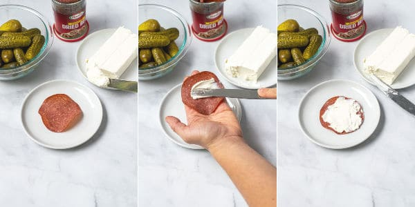step by step pictures of cream cheese being spread on the dried beef
