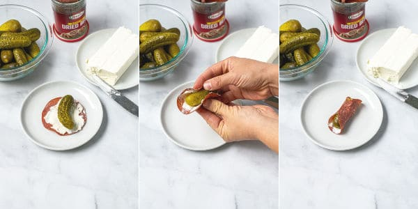 showing step by step how to roll the dill pickle in the dried beef