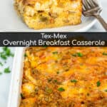 casserole dish with tex mex breakfast egg bake and a slice taken out