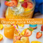 glasses of orange juice mocktails full of strawberries, bananas, and oranges
