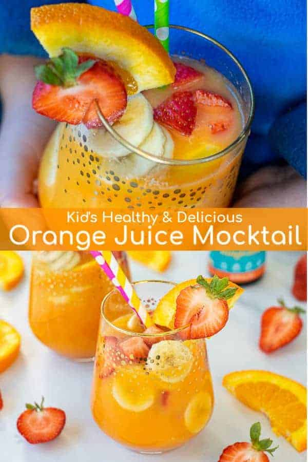 Healthy Orange Juice Mocktail for your favorite kids, a drink packed with fruits, juice, and omega-3's! Perfect as a Breakfast Mocktail, after school snack, or brunch! #ad #barleans #seriouslydelicious #omegapals