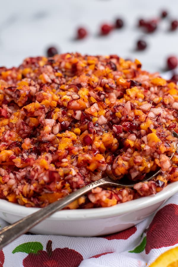 close up view of a bowl with cranberry orange relish