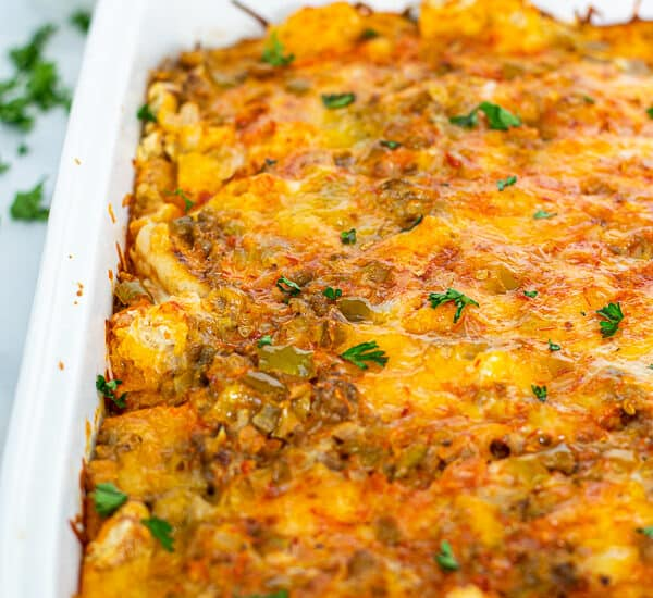 freshly baked overnight tex mex egg bake in a white dish
