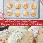 White Chocolate Peppermint Cookies on a sheet pan with candy canes