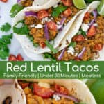 vegetarian red lentil tacos in flour tortillas on a plate