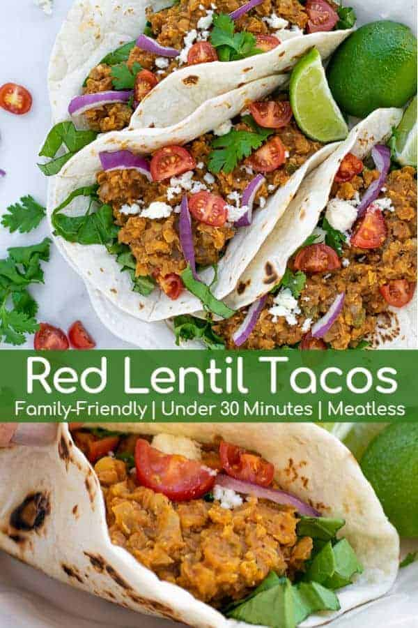 This easy Red Lentil Tacos Recipe is the perfect weeknight vegetarian meal that the whole family will love! An easy Vegetarian Taco Meat is ready to eat in under 30 minutes, making it a simple, quick, and healthy meal. #tacos #lentils #easy #meatlessmonday