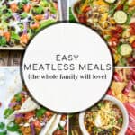 pin collage of meatless meal options for the whole family